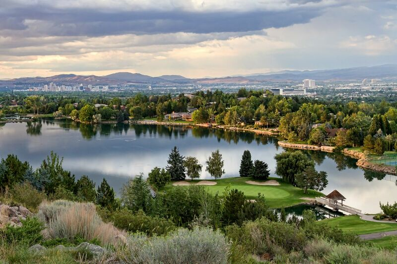 View of a large pond on the course at LakeRidge Golf Course